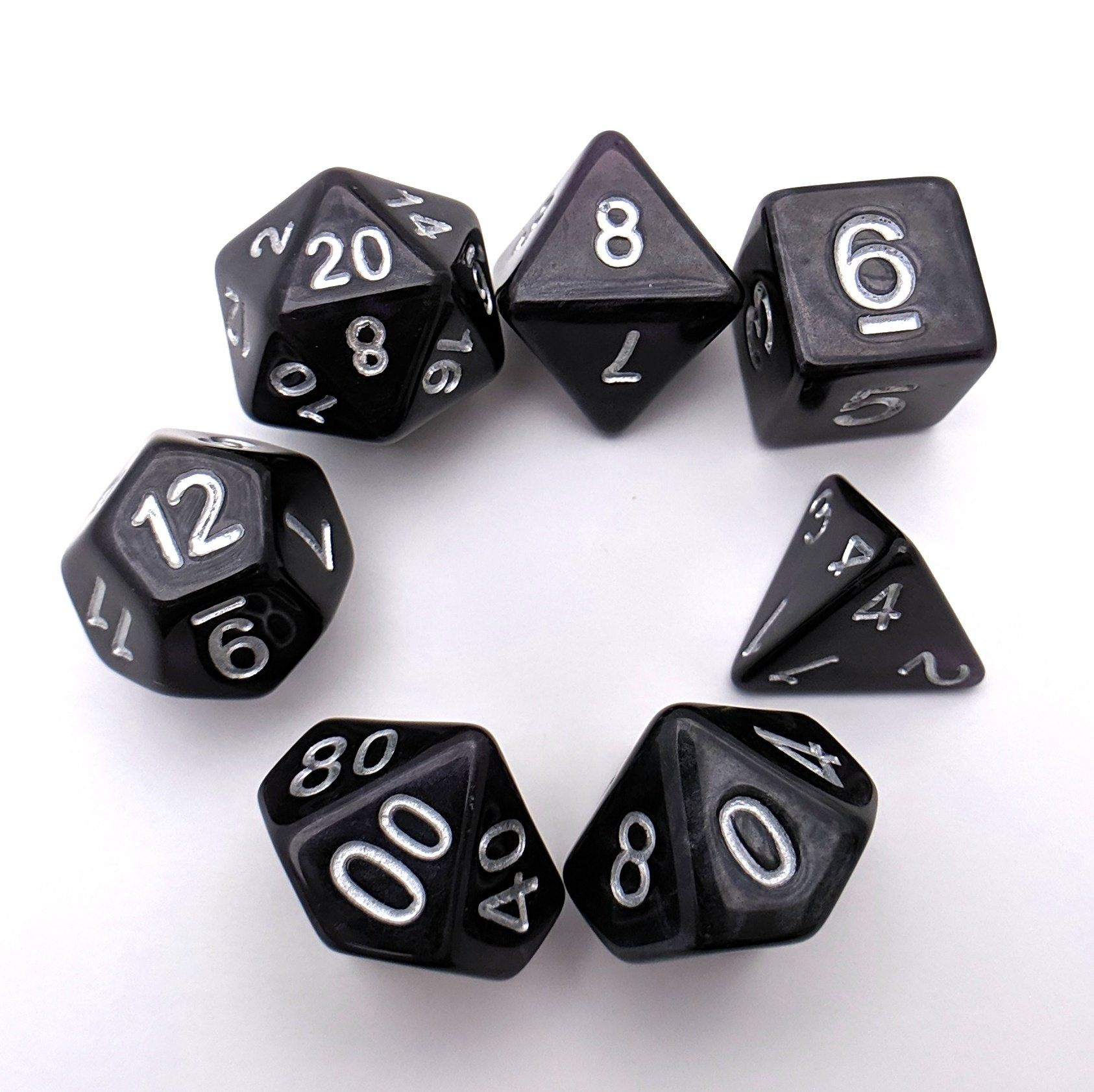 Shadows DnD Dice Set, Off Black Purple Pearl Shimmer Dice