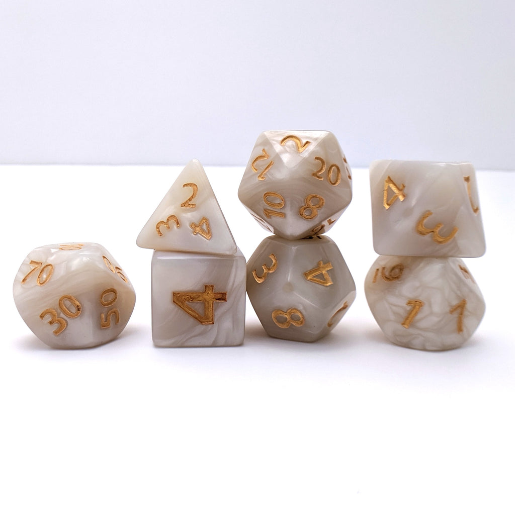 Giant Pearly Gates, Large White Pearl Dice Set - CozyGamer