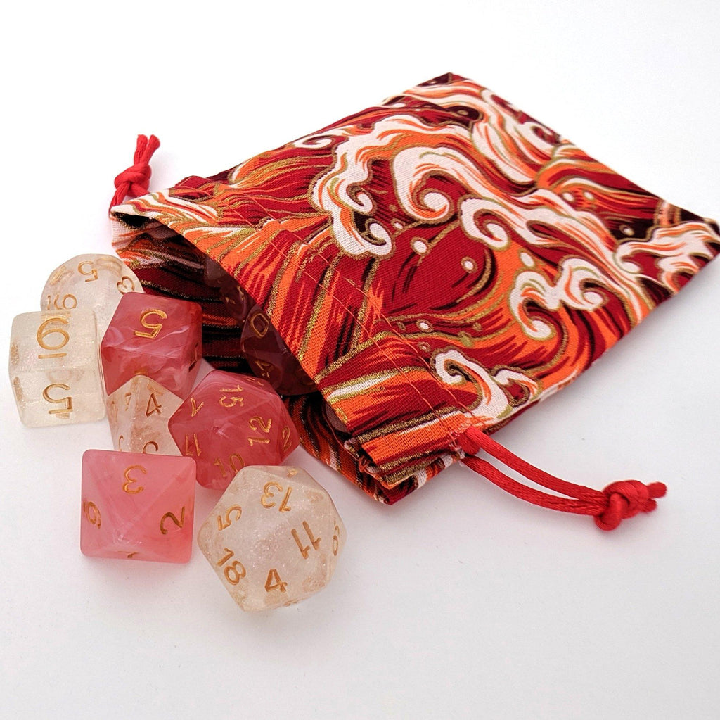 Red Ocean Wave Dice Bag - CozyGamer