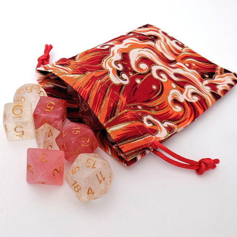 Red Ocean Wave Dice Bag