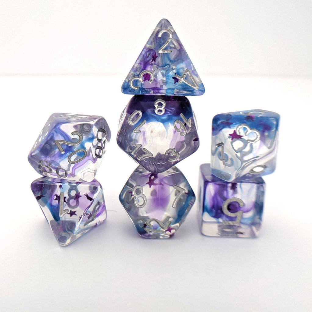 Shadow Moon Dice Set, Translucent Resin Dice with Pearly Violet and Indigo ink and Magenta Stars - CozyGamer