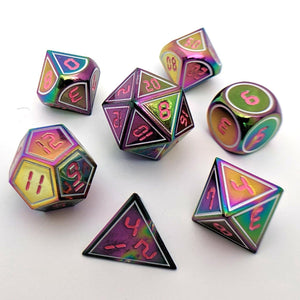 Metallic Rainbow Dice Set, Metal Dice