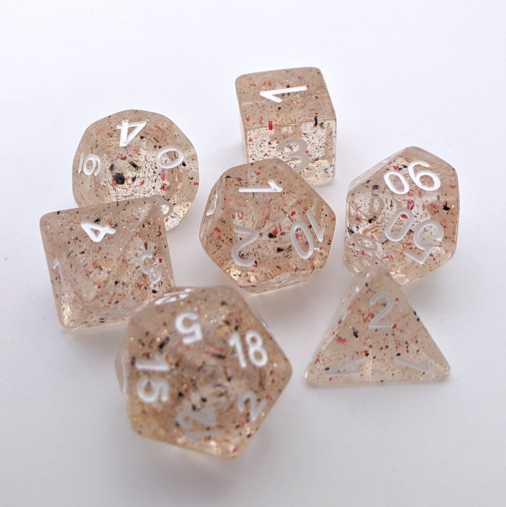 Little Stars DnD Dice Set, Glitter Dice with Red and Black Particles