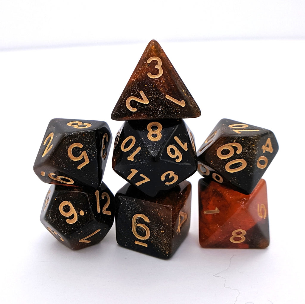 Searing Galaxy DnD Dice Set, Black and Orange Glitter Dice - CozyGamer