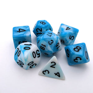 Shark Eye DnD Dice Set, Blue and White Marble Dice