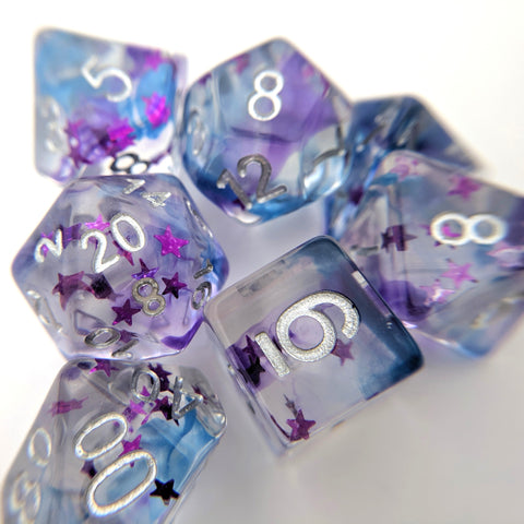 Shadow Moon Dice Set, Translucent Resin Dice with Pearly Violet and Indigo ink and Magenta Stars