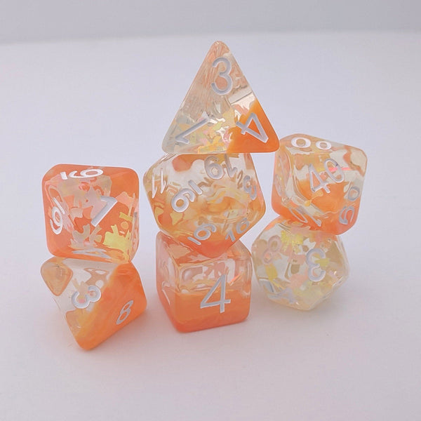 Peachy Bow DnD Dice Set, Orange Ribbon Translucent Glitter Dice