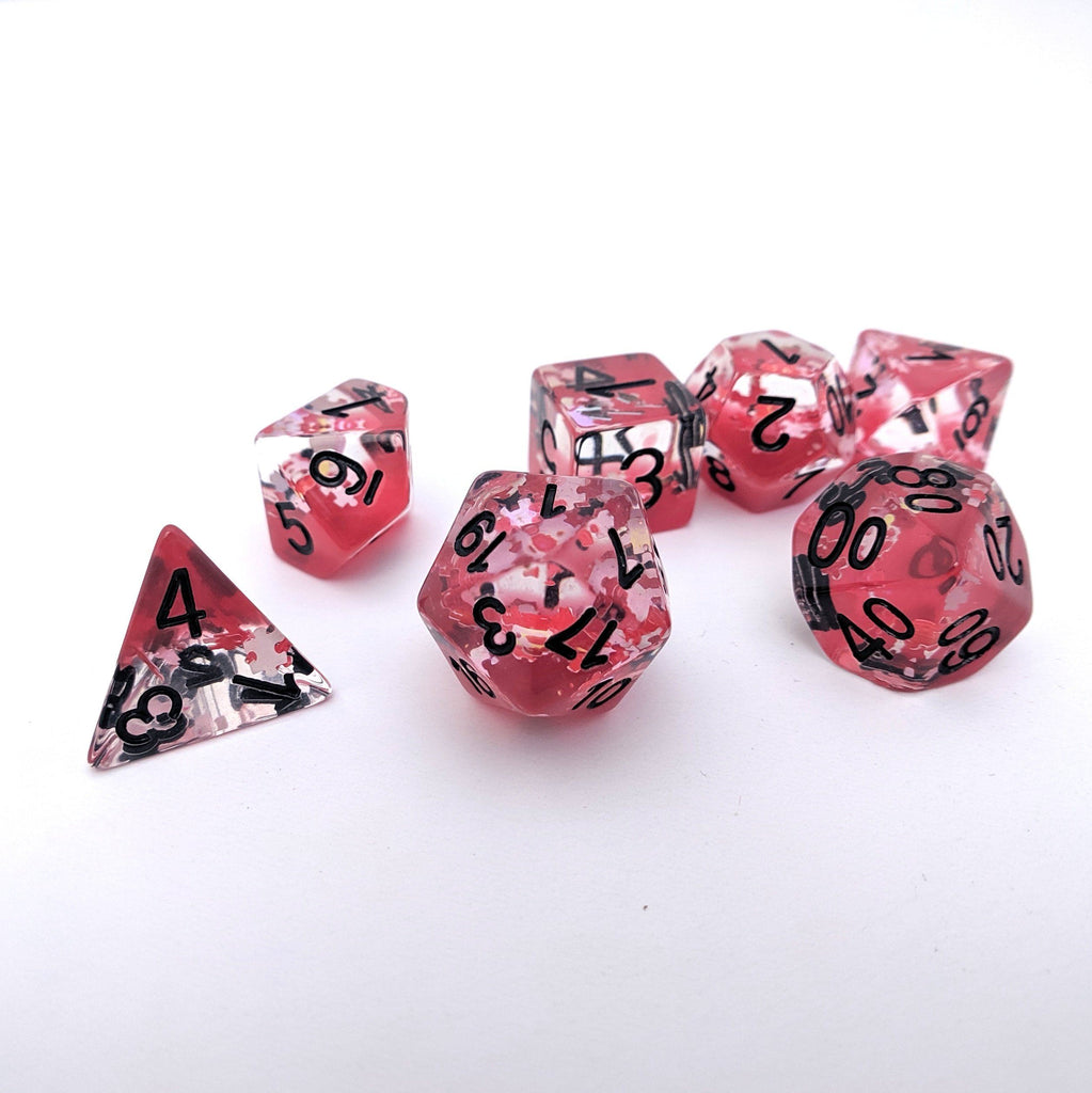 Deadly Puzzle DnD Dice Set, Red Translucent Glitter Dice - CozyGamer