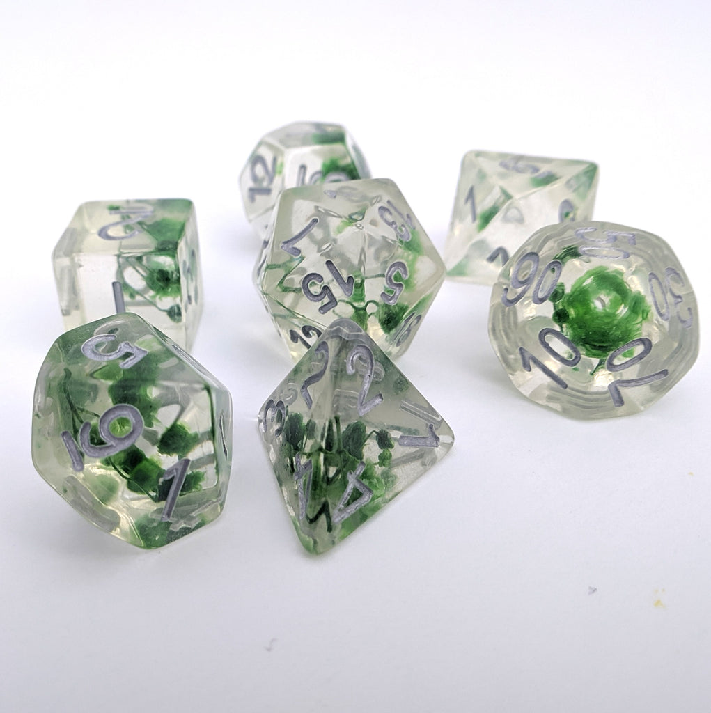 Baby's Breath DnD Dice Set, green Flower Dice - CozyGamer