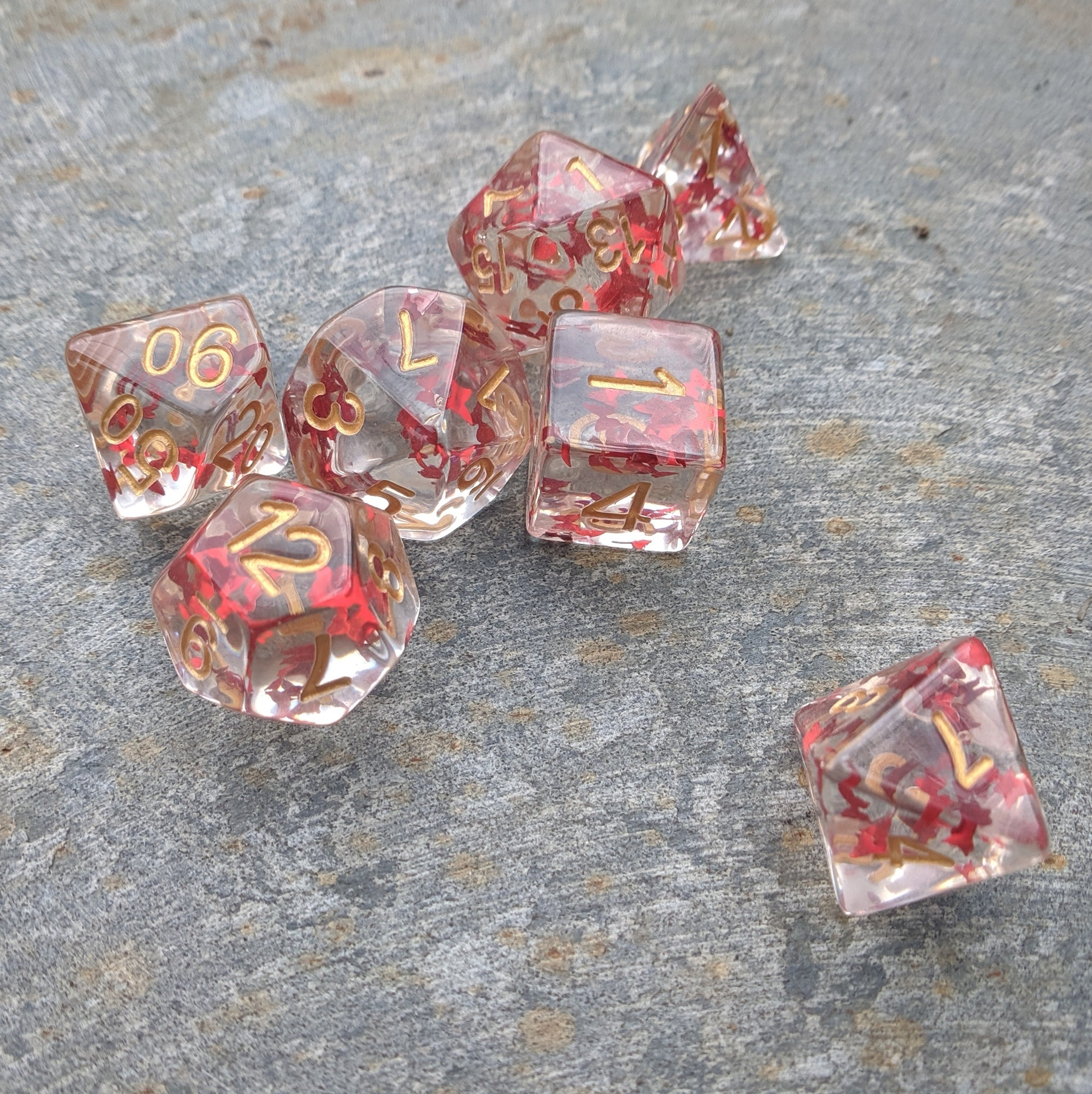 Red Butterfly DnD Dice Set, Translucent Red Glitter Dice