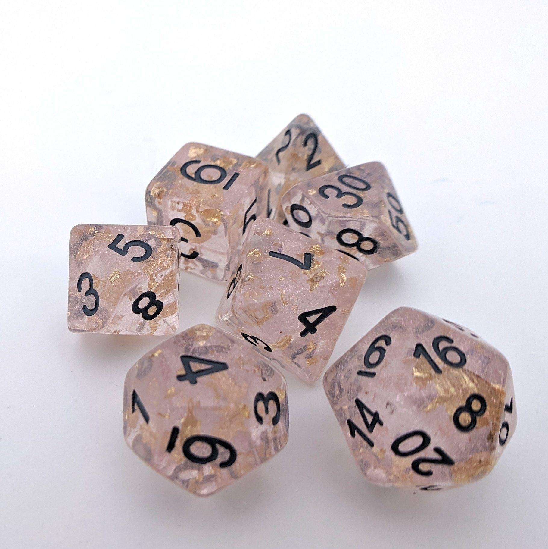 Rose Scepter DnD Dice Set, Pink Translucent Glitter Dice with Gold Foil
