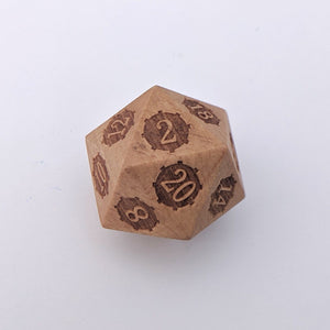 Large Wood D20, Light Wooden Die