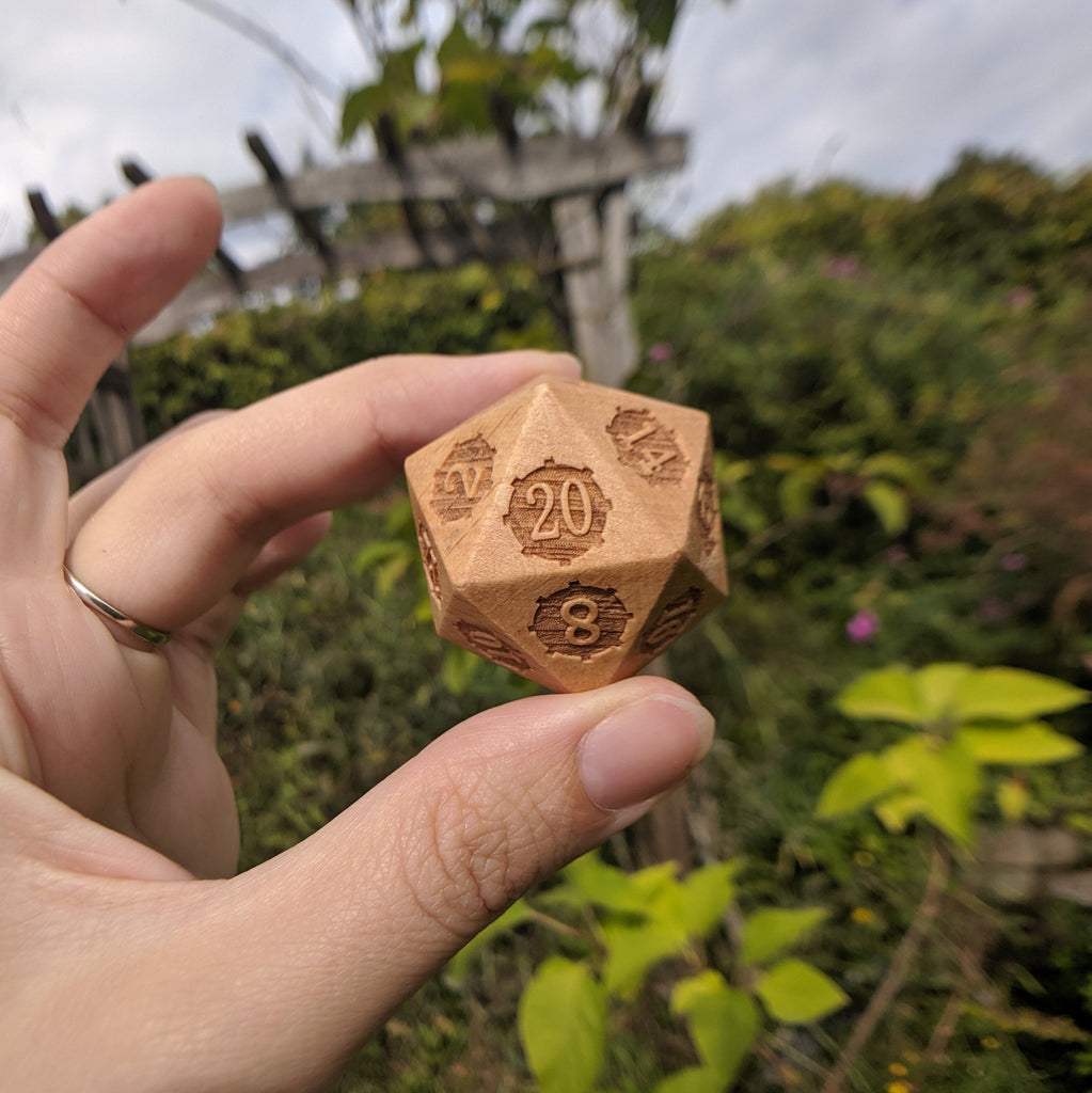 Large Wood D20, Light Wooden Die - CozyGamer