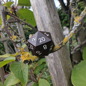 Large Wood D20, Dark Wooden Die