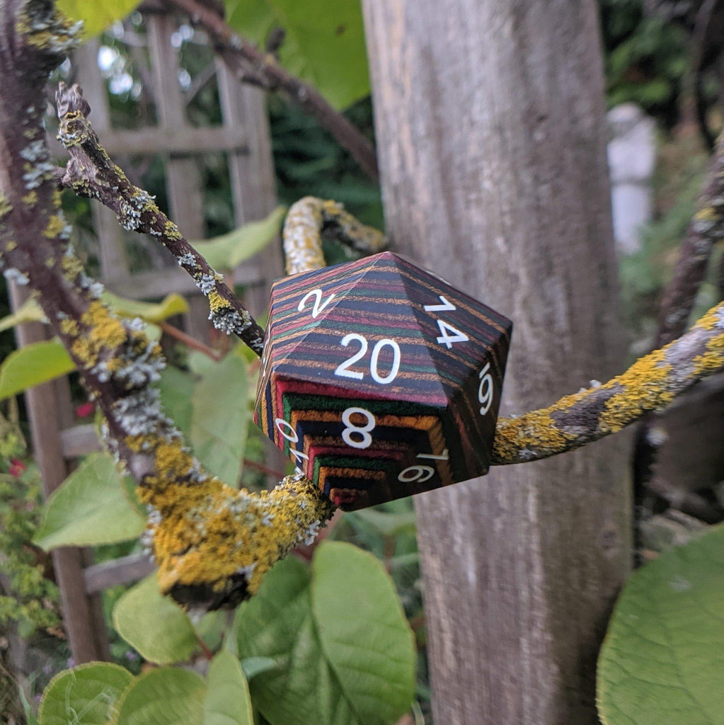 Large Wood D20, Bright Rainbow Wooden Die - CozyGamer
