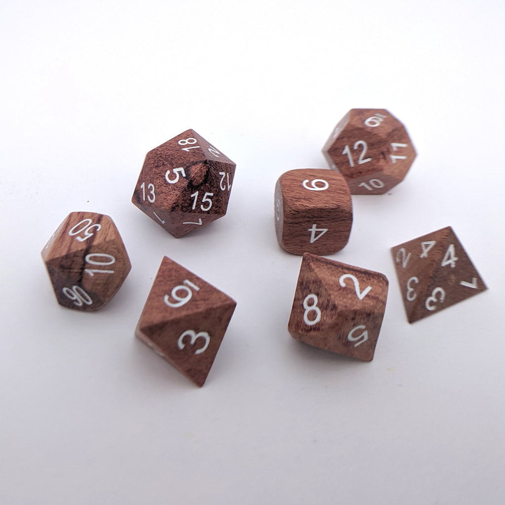 Rose Wood Dice set with White Font - CozyGamer