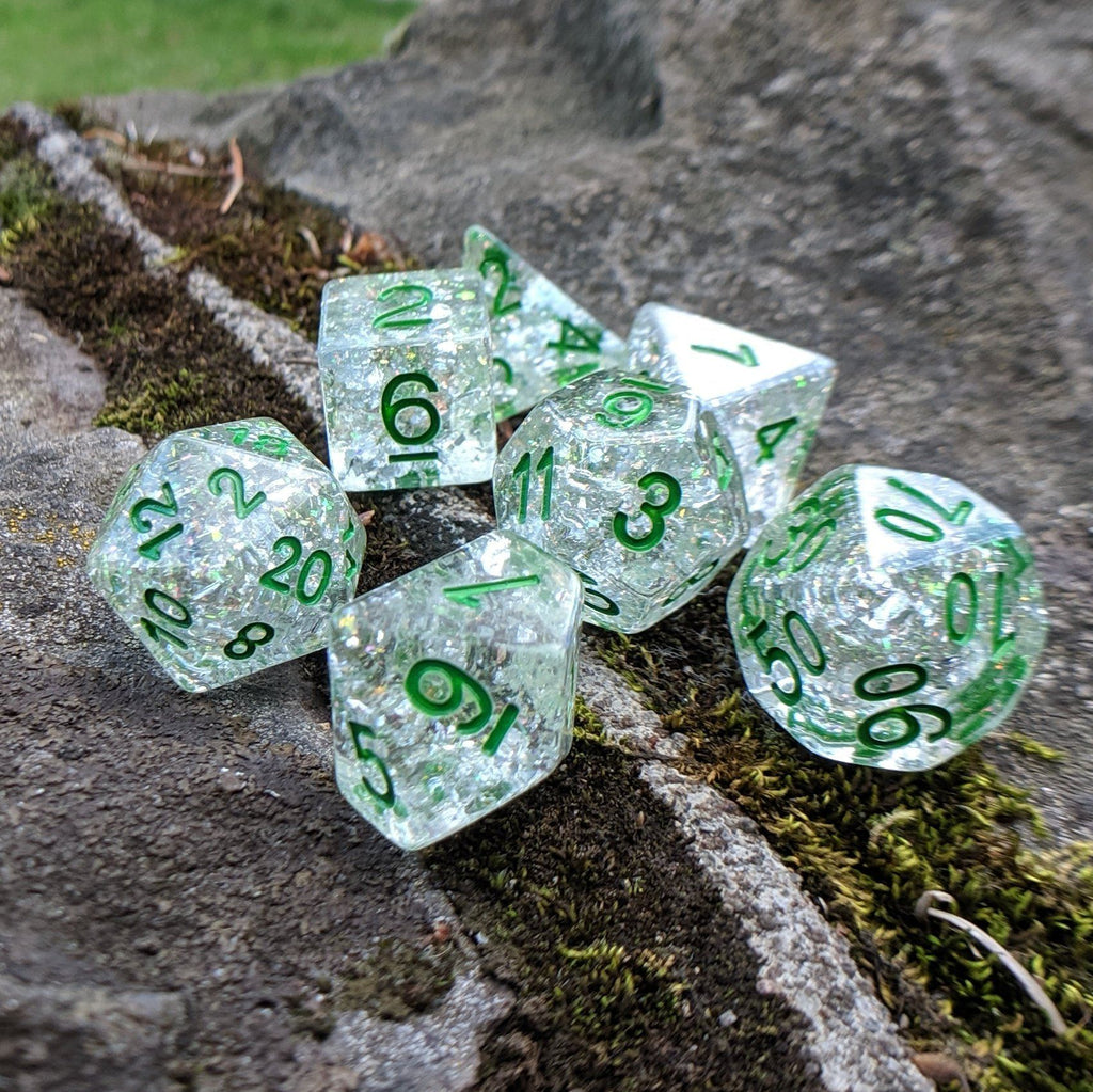 Serpent Dice Set, Opal Flake and Silver Foil Dice Set, Designed by Therin - CozyGamer