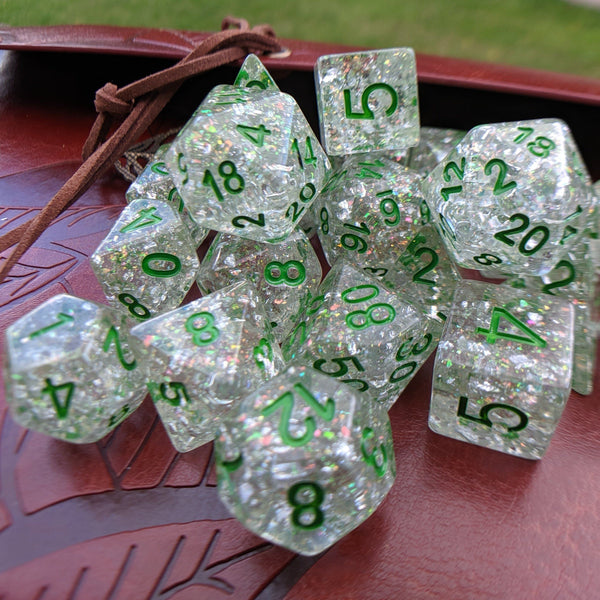 Serpent Dice Set, Opal Flake and Silver Foil Dice Set, Designed by Therin