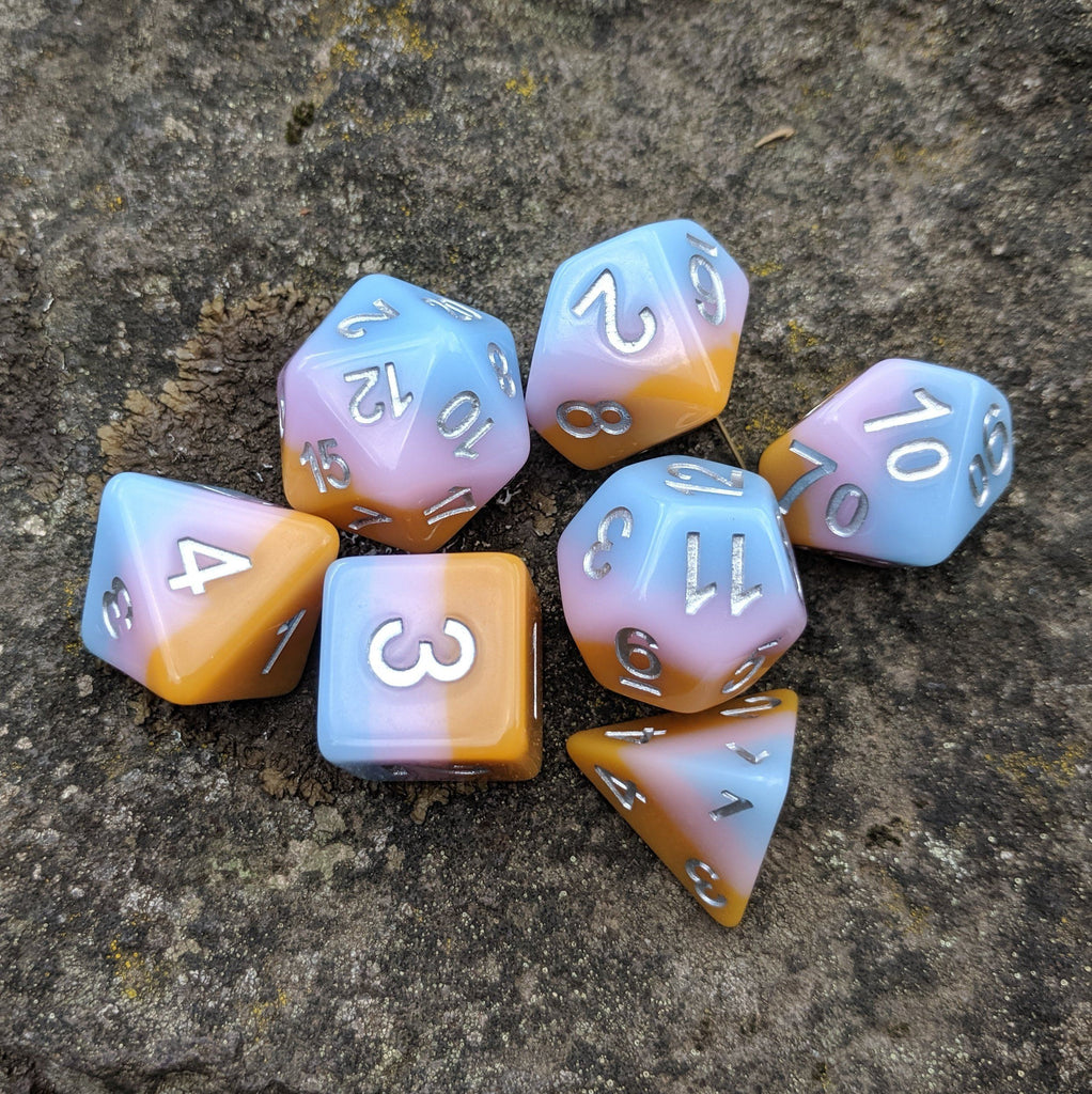 Soft Cream DnD Dice Set,  Opaque Pastel Pink, Blue, and Caramel Dice - CozyGamer