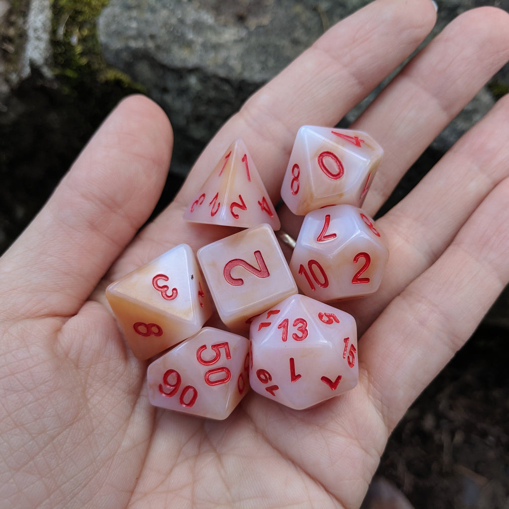 White Jade DnD Dice Set, Cloudy White Resin Dice - CozyGamer