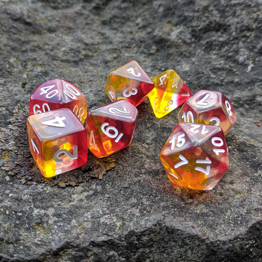 Fire Light Dice Set, red, white, and yellow layered dice set by HD - CozyGamer