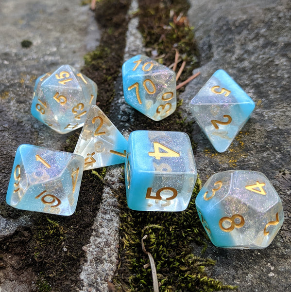 Snowflake DnD Dice Set, Shimmering Translucent Glitter Dice with a Blue Bottom Layer