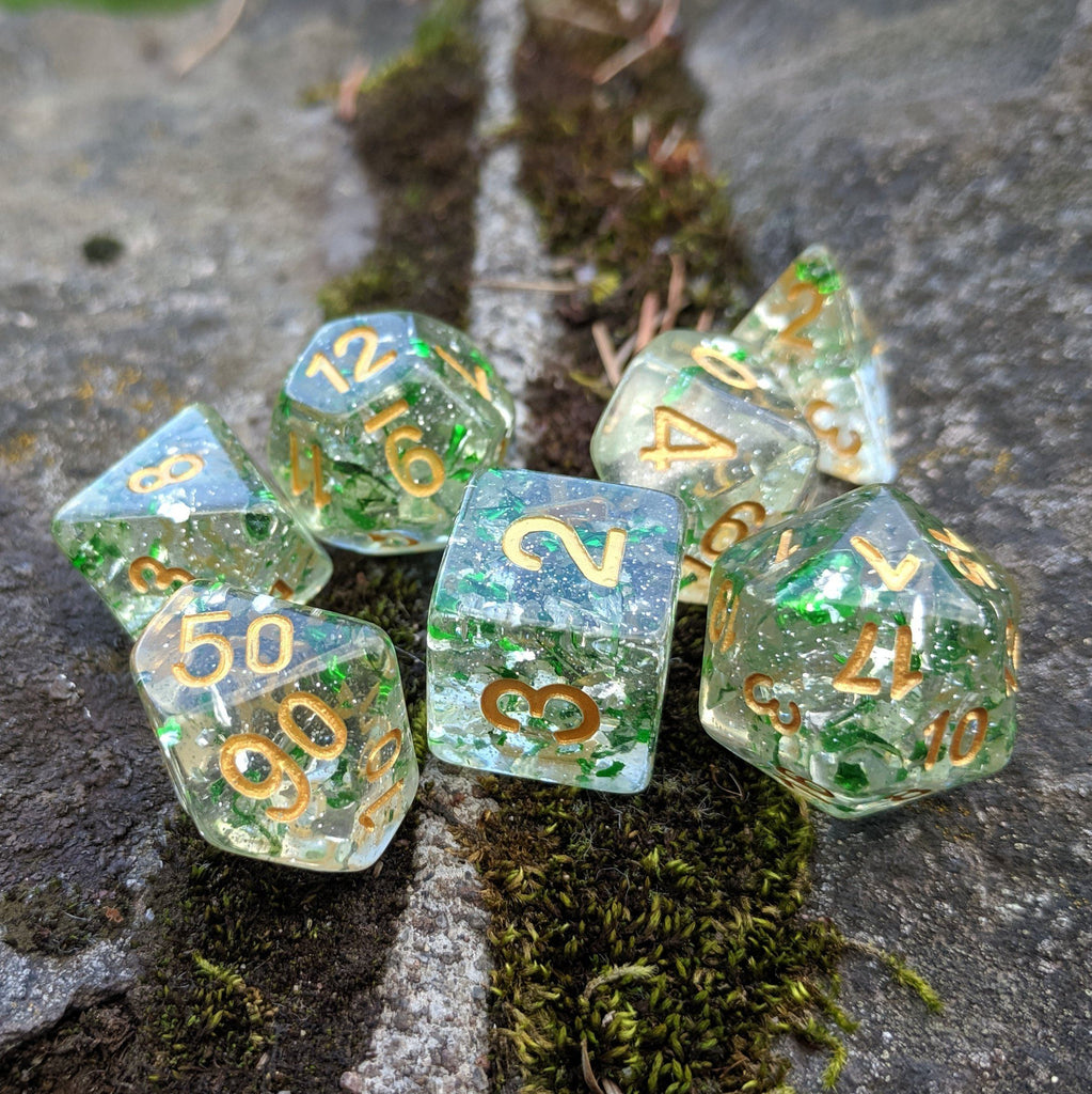 Metallic Emerald Dice Set, Green Translucent Glitter Foil Dice - CozyGamer