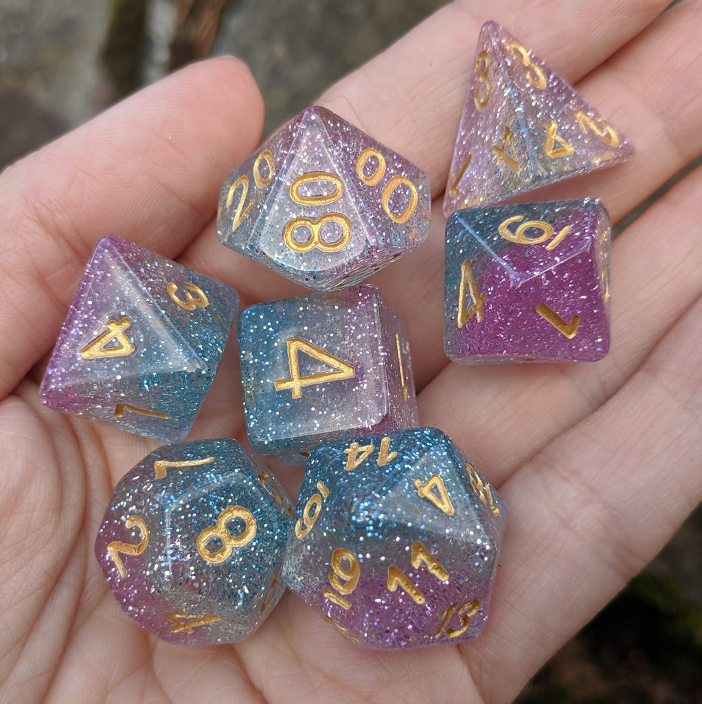 Spiritual Weapon DnD Dice Set, Pink, White, and Blue Glitter Dice - CozyGamer