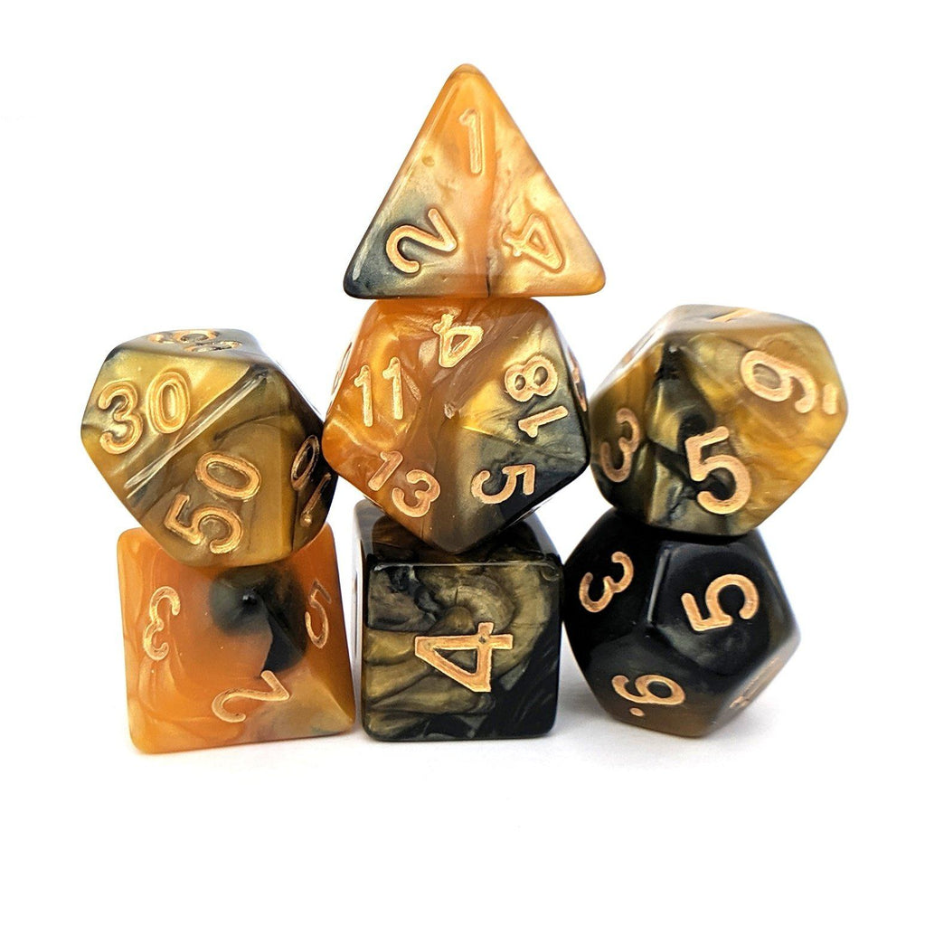 Black and Gold Dice Set. Pearly Two Tone Dice. - CozyGamer