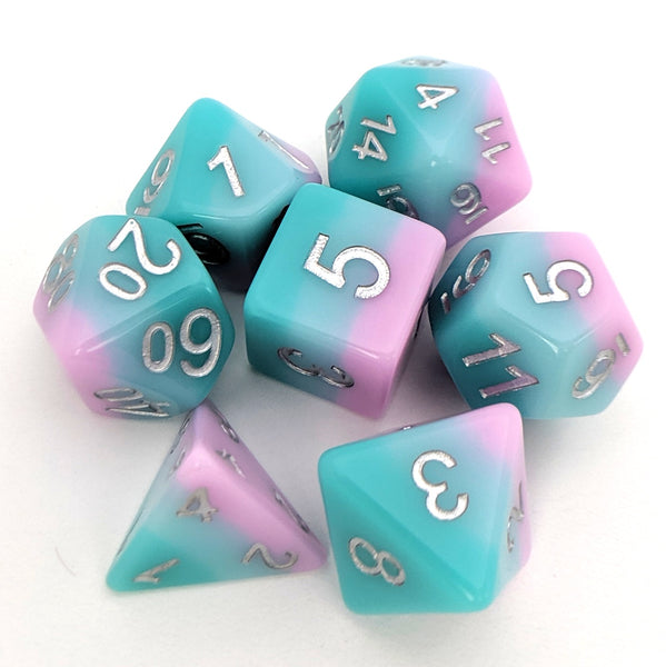 Lover's Whisper Dice Set, Pastel layered dice set by HD