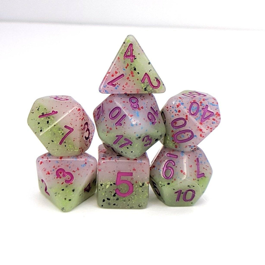Provence Lavender Dice Set, Pastel layered and speckled dice set by HD - CozyGamer