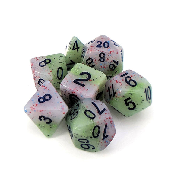 Witch's Robe Dice Set, Pastel layered and speckled dice set by HD