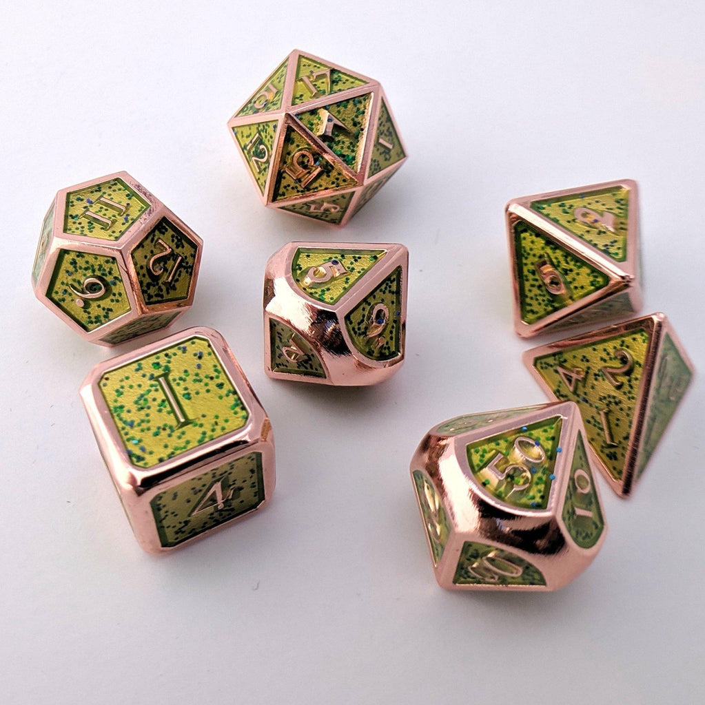 Glittering Green Metal Dice Set with Copper Trim - CozyGamer