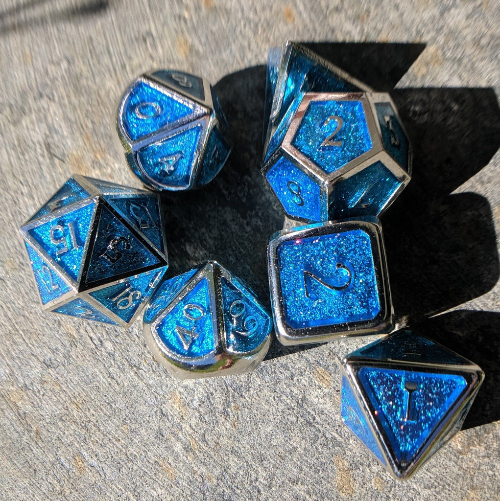 Glittering Blue and Silver Metal Dice Set - CozyGamer