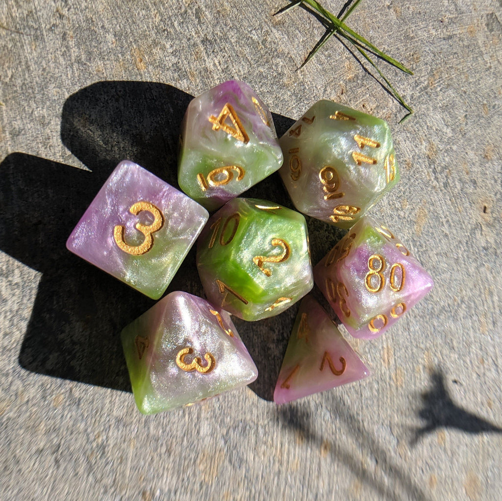 Druid Stone Dice Set, Green and Purple Marble Shimmer Dice - CozyGamer