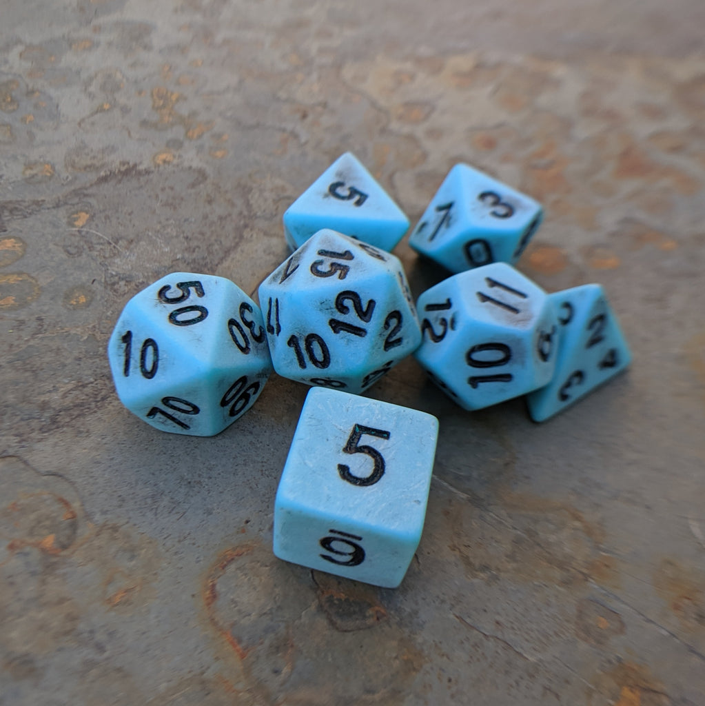 Ancient Turquoise DnD Dice Set, Light Blue Matte Dice - CozyGamer