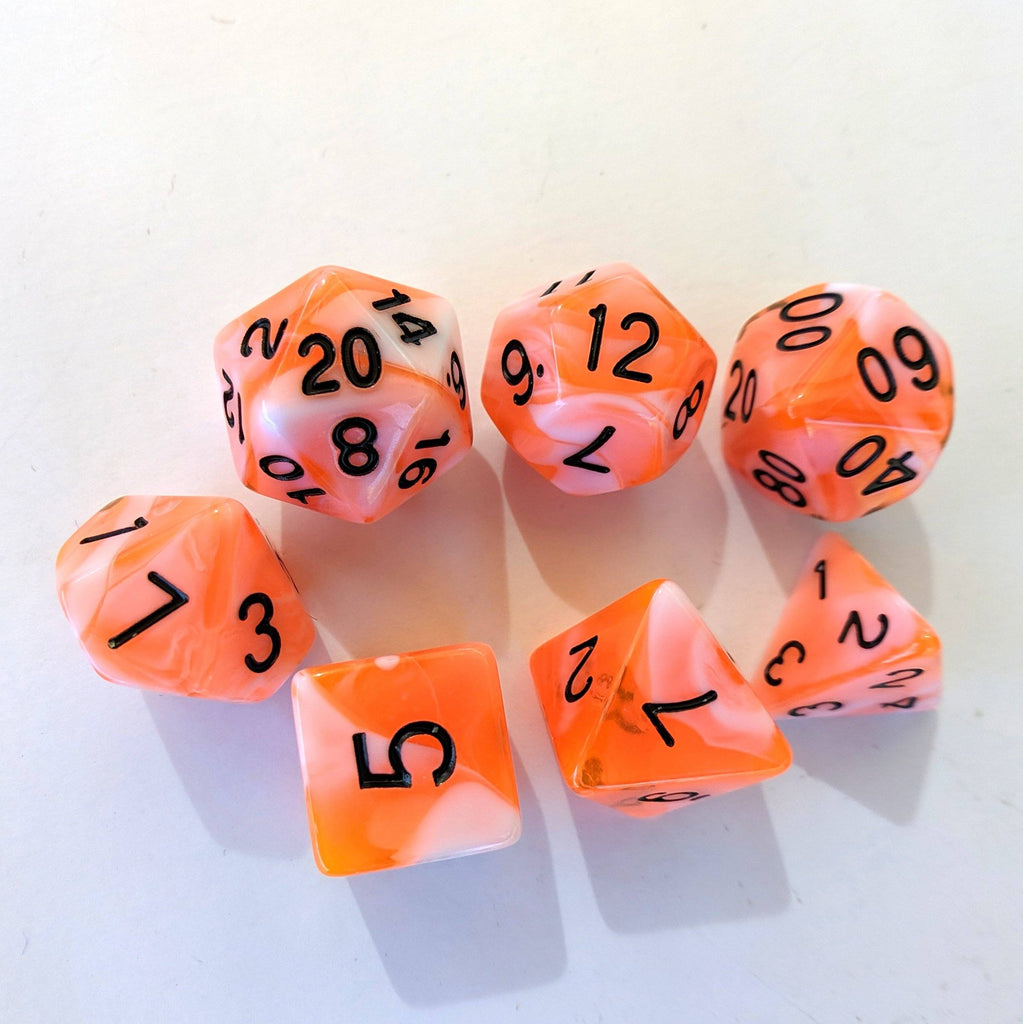 Conflagration DnD Dice Set, White and Neon Orange Dice - CozyGamer