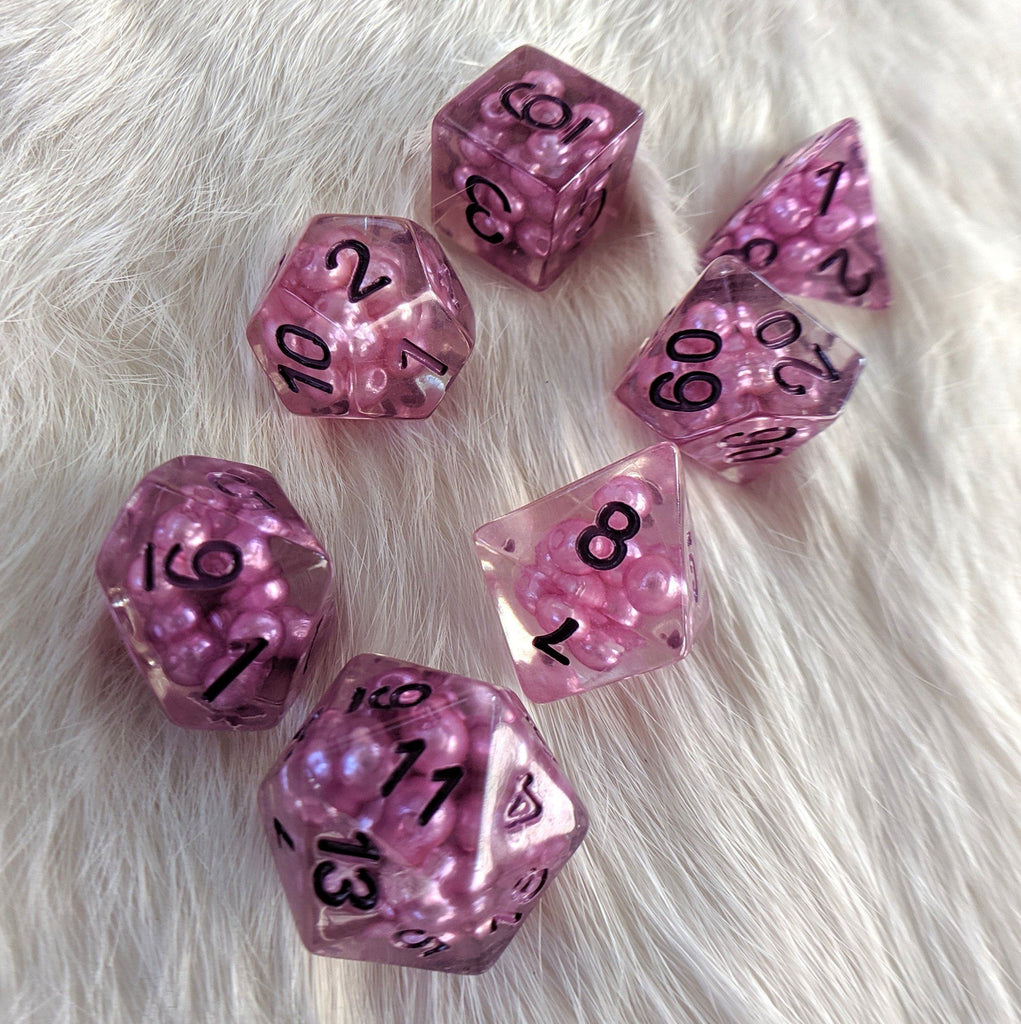 Enchantress Pearl DnD Dice Set, Pearly Bead Dice - CozyGamer