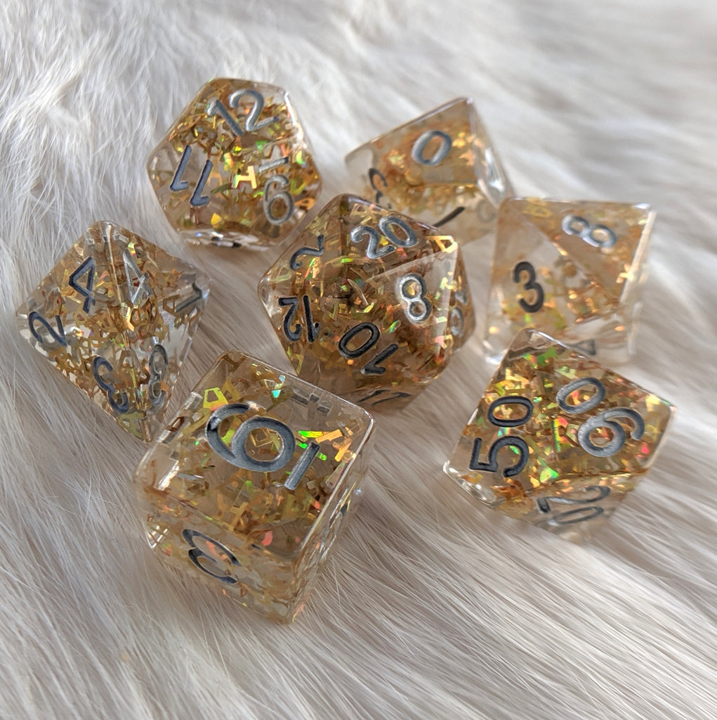 Bring Your A Game Dice Set, A shaped glitter dice - CozyGamer