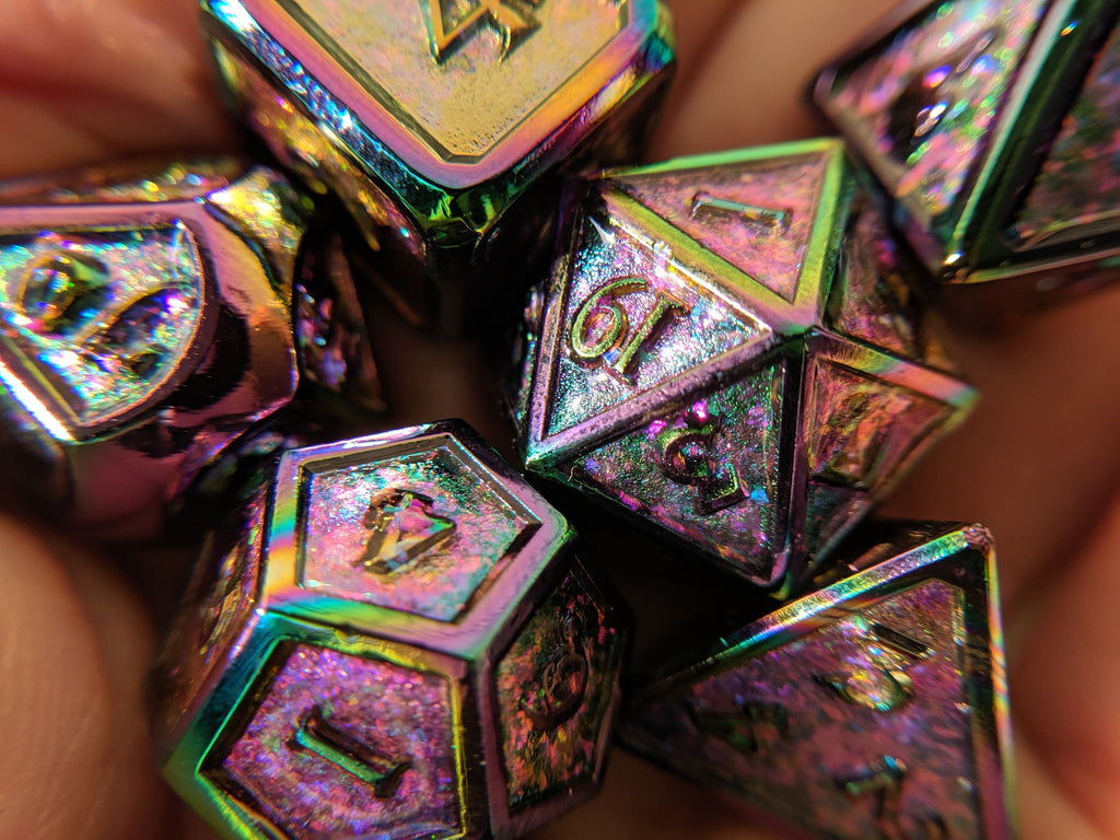 Glittering Peacock Rainbow Metal Dice Set with Rainbow Trim - CozyGamer