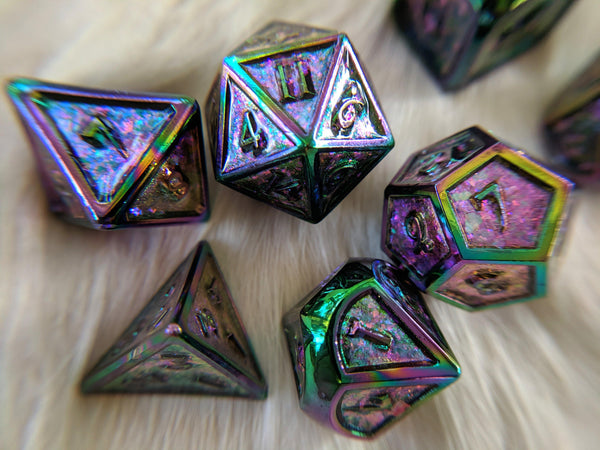Glittering Peacock Rainbow Metal Dice Set with Rainbow Trim