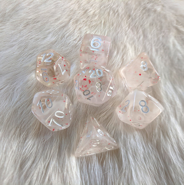Blood on the Snow DnD Dice Set, White and Red Dice