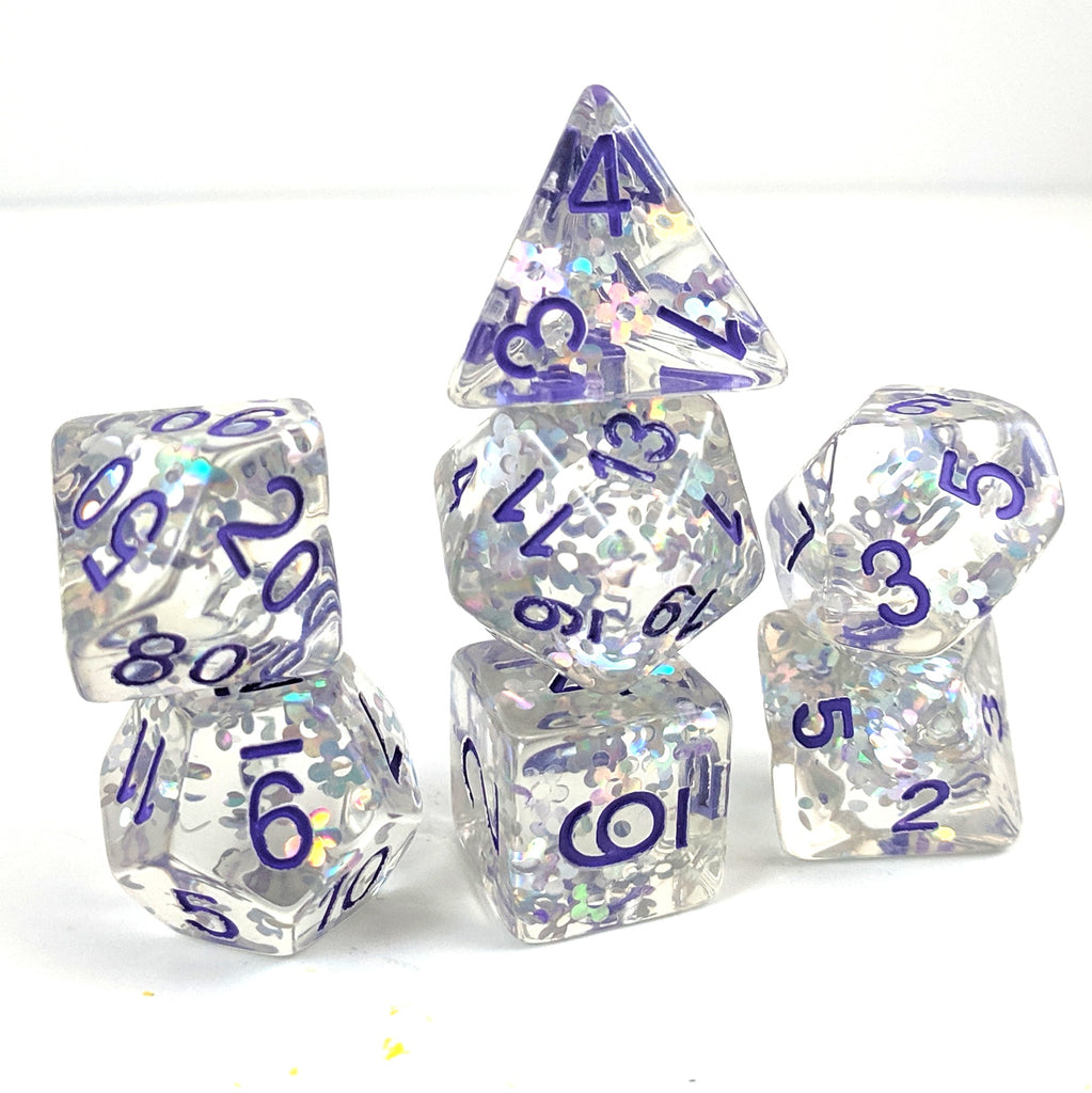 Flashing Plum Dice Set, Silver holographic glitter flowers - CozyGamer