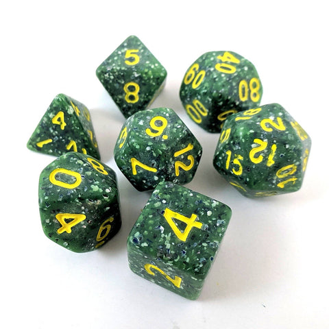 Speckled Dragon Egg Dice Set, Green spotted particle dice