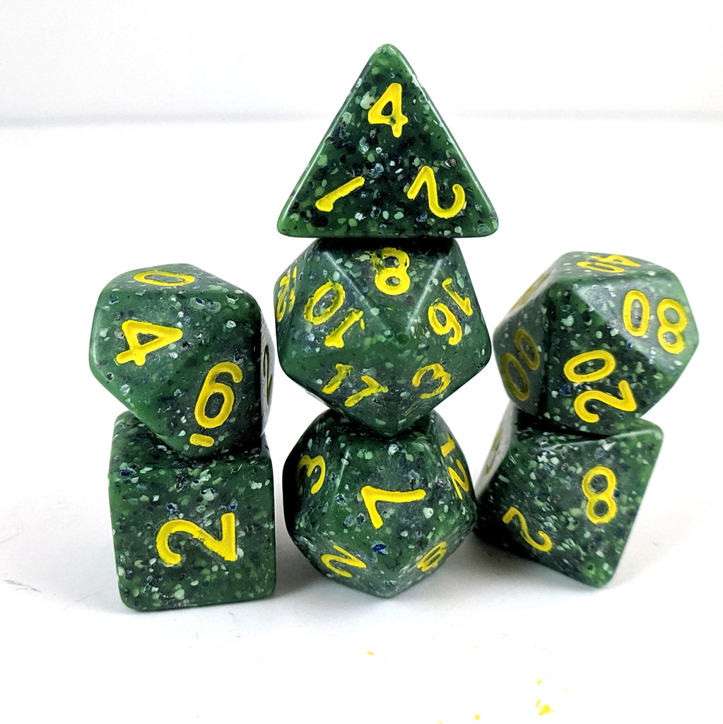 Speckled Dragon Egg Dice Set, Flawed Green spotted particle dice - CozyGamer