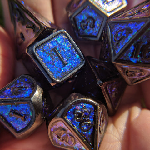 Glittering Night Sky Blue Purple Teal Metal Dice Set with Black Trim