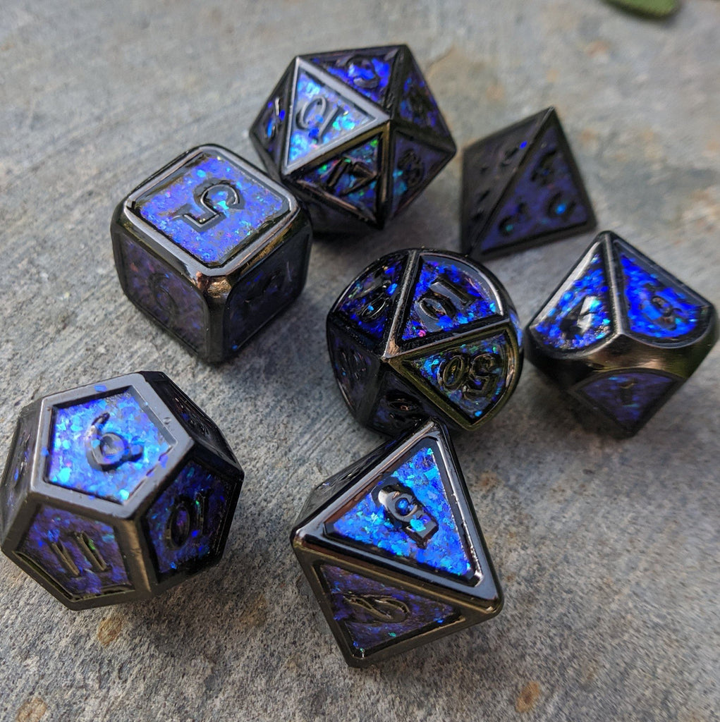 Glittering Night Sky Blue Purple Teal Metal Dice Set with Black Trim - CozyGamer