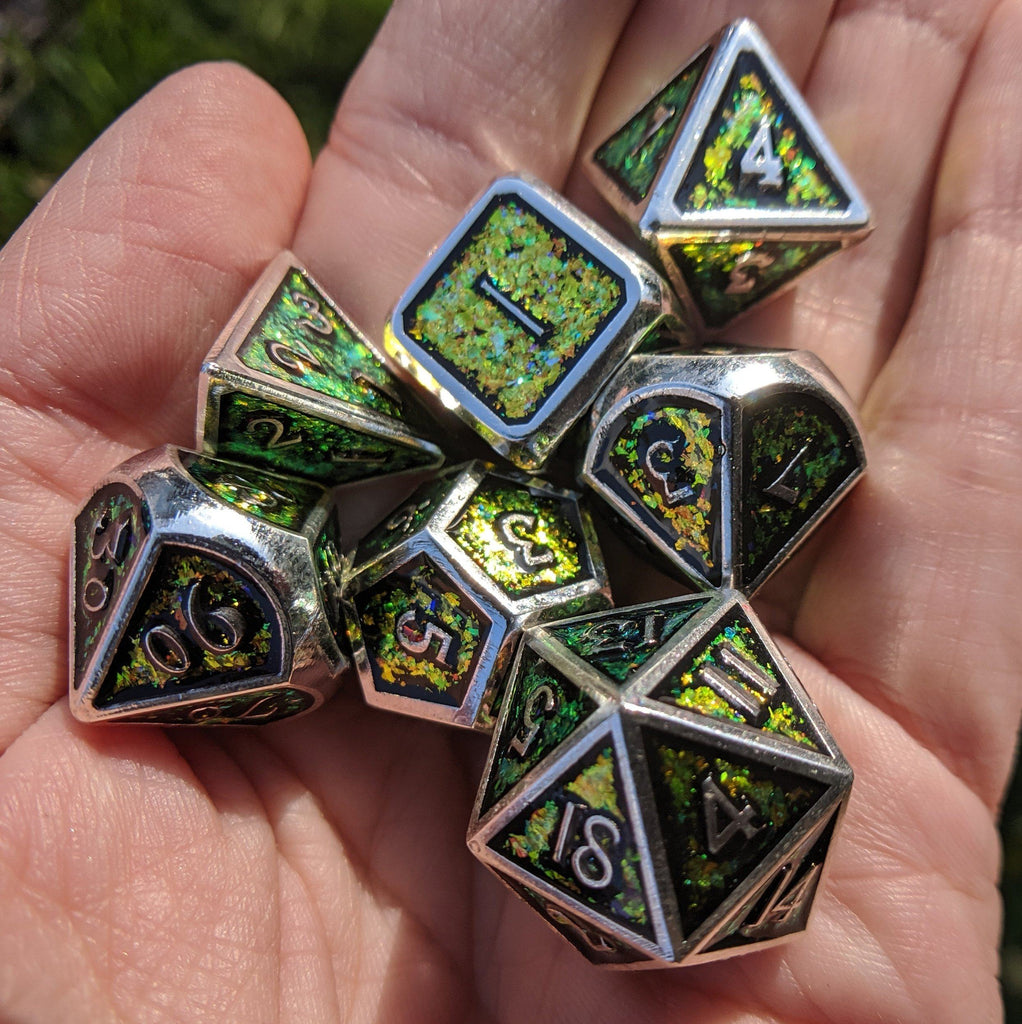 Glittering Color Shift Yellow, Orange, and Green Metal Dice Set with Silver Trim - CozyGamer