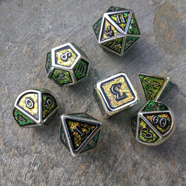 Glittering Color Shift Yellow, Orange, and Green Metal Dice Set with Silver Trim