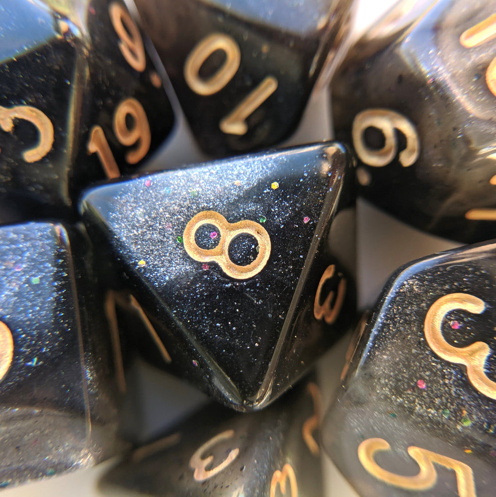 Black Nebula DnD Dice Set, Black and White Micro Shimmer - CozyGamer